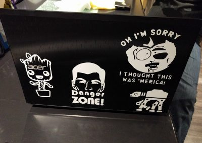 Decals on a laptop